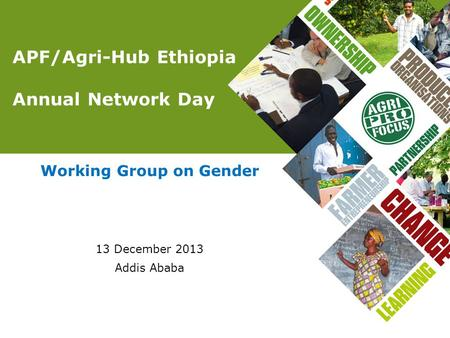 APF/Agri-Hub Ethiopia Annual Network Day Working Group on Gender 13 December 2013 Addis Ababa.