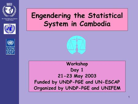 The United Nations Development Fund for Women 1 Engendering the Statistical System in Cambodia Workshop Day 1 21-23 May 2003 Funded by UNDP-PGE and UN-ESCAP.