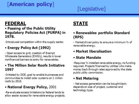 [Legislative] [American policy] Passing of the Public Utility Regulatory Policies Act (PURPA) in 1978. -Introduced competition within the supply sector.