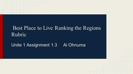 Best Place to Live Ranking the Regions Rubric Unite 1 Assignment 1.3 Ai Ohnuma.