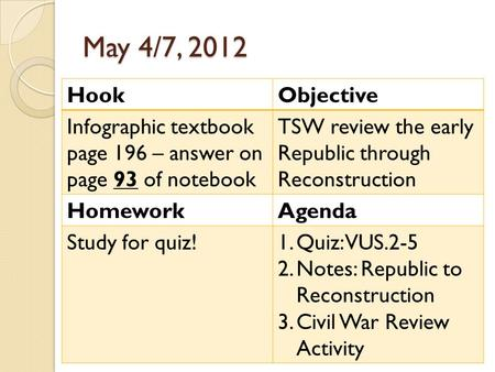 May 4/7, 2012 HookObjective Infographic textbook page 196 – answer on page 93 of notebook TSW review the early Republic through Reconstruction HomeworkAgenda.