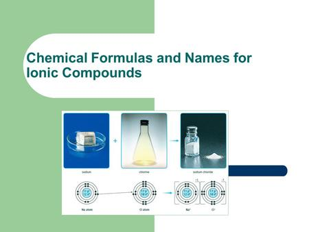 Chemical Formulas and Names for Ionic Compounds