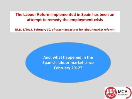 The Labour Reform implemented in Spain has been an attempt to remedy the employment crisis (R.D. 3/2012, February 10, of urgent measures for labour market.
