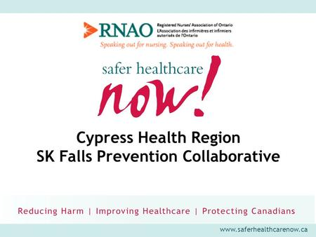 Www.saferhealthcarenow.ca Cypress Health Region SK Falls Prevention Collaborative.