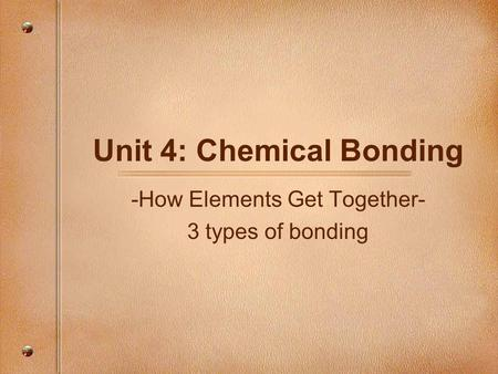 Unit 4: Chemical Bonding -How Elements Get Together- 3 types of bonding.