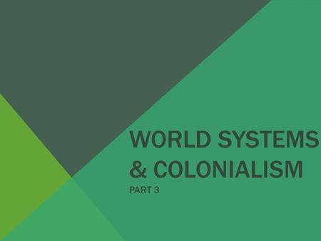 WORLD SYSTEMS & COLONIALISM PART 3. COLONIALISM FIVE MAJOR COLONIAL POWERS Great Britain France Portugal Belgium Germany In addition to these, there.