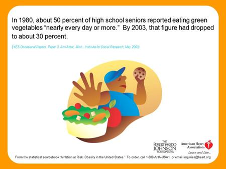 "In 1980, about 50 percent of high school seniors reported eating green vegetables ""nearly every day or more."" By 2003, that figure had dropped to about."
