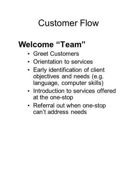 "Customer Flow Welcome ""Team"" Greet Customers Orientation to services Early identification of client objectives and needs (e.g. language, computer skills)"
