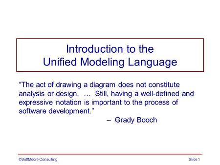 unified modeling language an introductionoverview essay