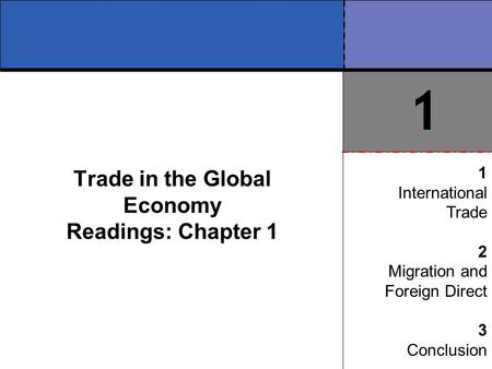 Trade in the Global Economy Readings: Chapter 1 1 International Trade 2 Migration and Foreign Direct 3 Conclusion 1.