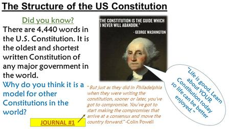 The Structure of the US Constitution Did you know? There are 4,440 words in the U.S. Constitution. It is the oldest and shortest written Constitution of.
