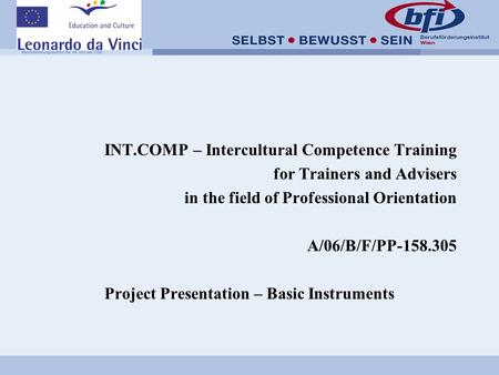 INT.COMP – Intercultural Competence Training for Trainers and Advisers in the field of Professional Orientation A/06/B/F/PP-158.305 Project Presentation.