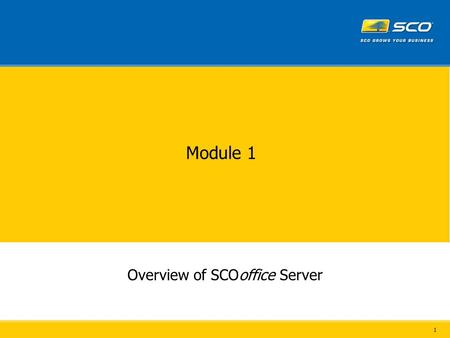 1 Module 1 Overview of SCOoffice Server. 2 Overview SCOoffice Server SCOoffice Address Book™ Desktop componentsServer components SCOoffice Connector™