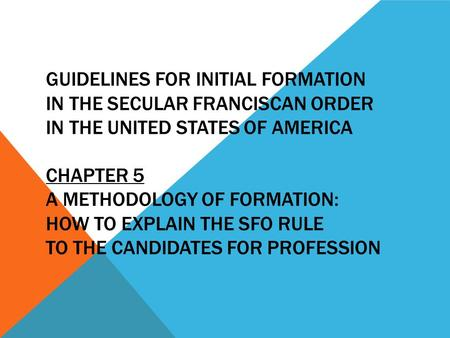 GUIDELINES FOR INITIAL FORMATION IN THE SECULAR FRANCISCAN ORDER IN THE UNITED STATES OF AMERICA CHAPTER 5 A METHODOLOGY OF FORMATION: HOW TO EXPLAIN THE.
