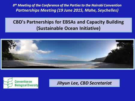 CBD's Partnerships for EBSAs and Capacity Building (Sustainable Ocean Initiative) 8 th Meeting of the Conference of the Parties to the Nairobi Convention.