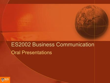 ES2002 Business Communication Oral Presentations.