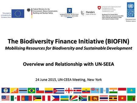 The Biodiversity Finance Initiative (BIOFIN) Mobilising Resources for Biodiversity and Sustainable Development Overview and Relationship with UN-SEEA 24.