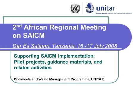 2 nd African Regional Meeting on SAICM Dar Es Salaam, Tanzania, 16 -17 July 2008 Supporting SAICM implementation: Pilot projects, guidance materials, and.