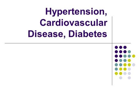 Hypertension, Cardiovascular Disease, Diabetes. 34% of Americans 36% of Americans.