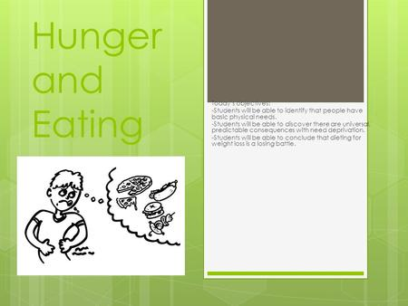 Hunger and Eating Today's objectives: -Students will be able to identify that people have basic physical needs. -Students will be able to discover there.