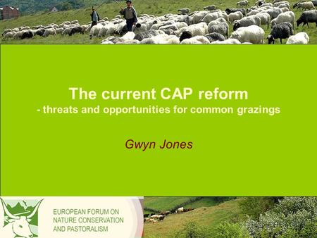 The current CAP reform - threats and opportunities for common grazings Gwyn Jones.