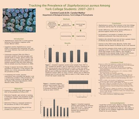 Tracking the Prevalence of Staphylococcus aureus Among York College Students: 2007-2011 Corinne Cusick & Dr. Carolyn Mathur Department of Biological Sciences,