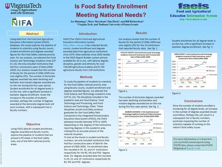 Is Food Safety Enrollment Meeting National Needs? Using data from the Food and Agriculture Education Information System (FAEIS) database, this study explores.