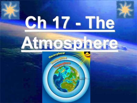 Ch 17 - The Atmosphere. 17.1 Vocab Charts (Example) WordDefinitionPicture Weather the state of the atmosphere at a given time and place.