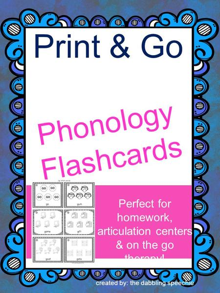 Print & Go Perfect for homework, articulation centers & on the go therapy! created by: the dabbling speechie.