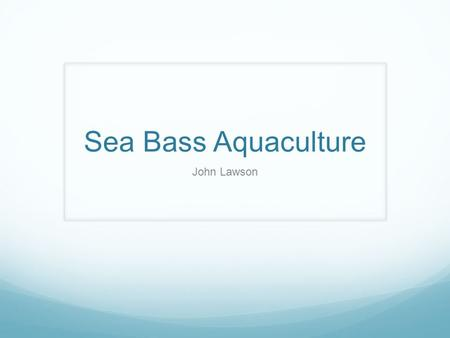 Sea Bass Aquaculture John Lawson. Species of Sea Bass Grown in Aquaculture Lutes calcarifer, Barramundi Dicentrarchus labrax, European Sea Bass Lateolabrax.