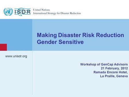 Making Disaster Risk Reduction Gender Sensitive