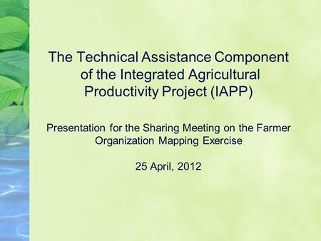 The Technical Assistance Component of the Integrated Agricultural Productivity Project (IAPP) Presentation for the Sharing Meeting on the Farmer Organization.