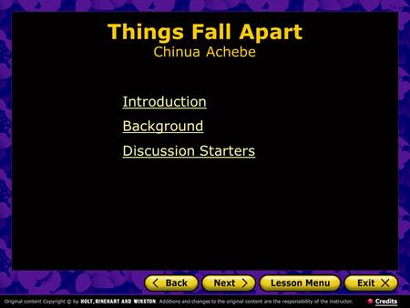 Things Fall Apart Summary and Study Guide
