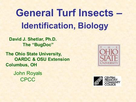 "General Turf Insects – Identification, Biology David J. Shetlar, Ph.D. The ""BugDoc"" The Ohio State University, OARDC & OSU Extension Columbus, OH John."