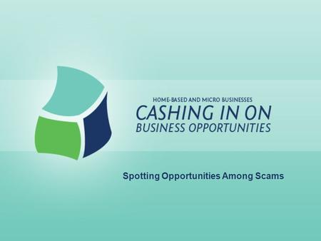 Spotting Opportunities Among Scams. Lesson Goals: For entrepreneurs to: –Better understand small business schemes and scams –Identify major types of small.