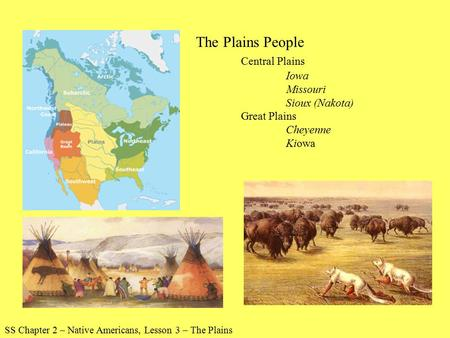 SS Chapter 2 – Native Americans, Lesson 3 – The Plains The Plains People Central Plains Iowa Missouri Sioux (Nakota) Great Plains Cheyenne Kiowa.