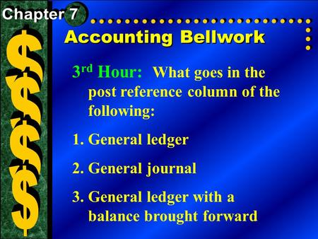 Accounting Bellwork 3 rd Hour: What goes in the post reference column of the following: 1.General ledger 2.General journal 3.General ledger with a balance.