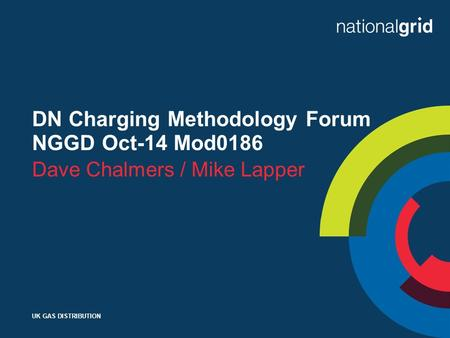 UK GAS DISTRIBUTION DN Charging Methodology Forum NGGD Oct-14 Mod0186 Dave Chalmers / Mike Lapper.