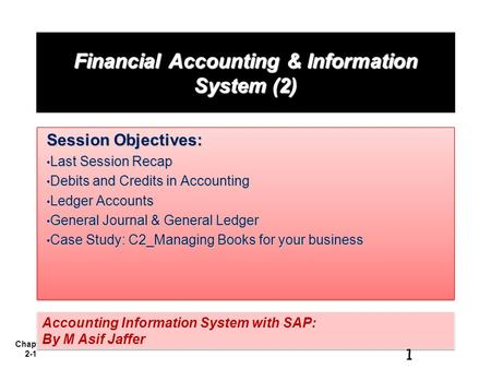 Chapter 2-1 Financial Accounting & Information System (2) Session Objectives: Last Session Recap Last Session Recap Debits and Credits in Accounting Debits.