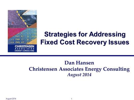 Strategies for Addressing Fixed Cost Recovery Issues Dan Hansen Christensen Associates Energy Consulting August 2014 1.