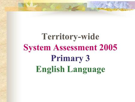Territory-wide System Assessment 2005 Primary 3 English Language.