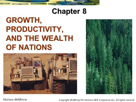 McGraw-Hill/Irwin Copyright  2006 by The McGraw-Hill Companies, Inc. All rights reserved. GROWTH, PRODUCTIVITY, AND THE WEALTH OF NATIONS Chapter 8.