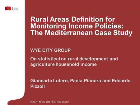 Giancarlo Lutero, Paola Pianura and Edoardo Pizzoli WYE CITY GROUP On statistical on rural development and agriculture household income Rural Areas Definition.