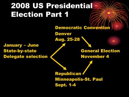 2008 US Presidential Election Part 1 Democratic Convention Denver Aug. 25-28 January – June State-by-stateGeneral Election Delegate selection November.