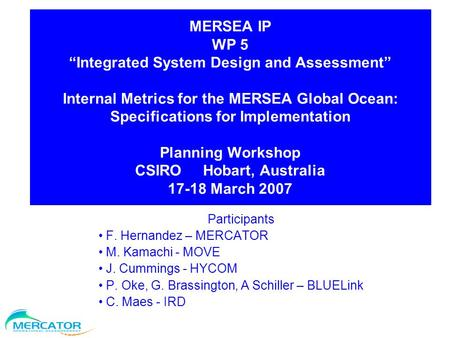 "MERSEA IP WP 5 ""Integrated System Design and Assessment"" Internal Metrics for the MERSEA Global Ocean: Specifications for Implementation Planning Workshop."