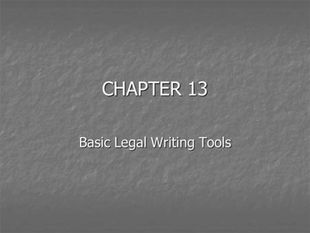 CHAPTER 13 Basic Legal Writing Tools. The Bluebook Rule 5.3 – The Ellipsis Use to indicate the omission of a word or words Use to indicate the omission.