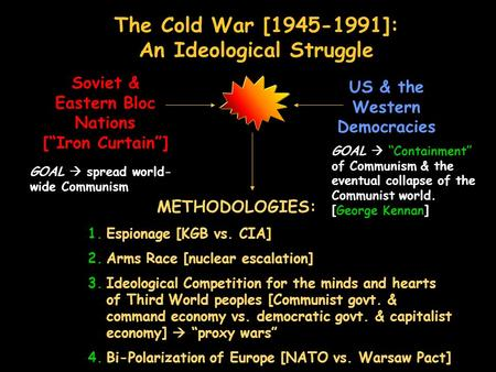 "The Cold War [1945-1991]: An Ideological Struggle Soviet & Eastern Bloc Nations [""Iron Curtain""] US & the Western Democracies GOAL  spread world- wide."