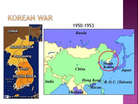 1950-1953.  Korea was divided at the 38 th parallel after WWII  North Korea was occupied by Soviet Union  America occupied South Korea  Division was.