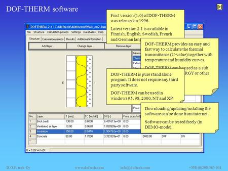 DOF-THERM software First version (1.0) of DOF-THERM was released in 1996. Latest version 2.1 is available in Finnish, English, Swedish, French and German.