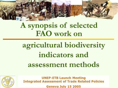 UNEP-ETB Launch Meeting Integrated Assessment of Trade Related Policies Geneva July 15 2005 agricultural biodiversity indicators and assessment methods.